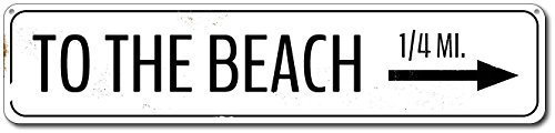 Wall Sticker Custom Street SignPersonalized To The Beach Directional Arrow Mileage Destination Sign - Quality Aluminum ENSA1001731-3x18 Inches Aluminum Metal Sign