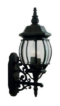 Livex Lighting 7524-04 Frontenac - Three Light Exterior Lantern, Black Finish with Clear Beveled Glass