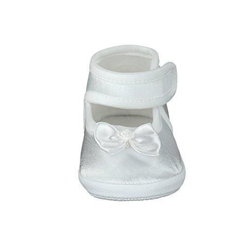 Omnia-Baby Pantau.eu Taufschuhe Babyschuhe Lauflernschuhe Kinderschuhe Babyschühchen Krabbelschuhe, Festliche Baby Schuhe, Satin - Zapatos primeros pasos de Satén para niña Weiß