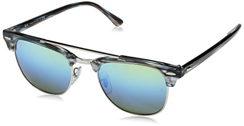 Ray-Ban RB3816 Clubmaster Double Bridge Square Sunglasses, Blue/Blue Green Gradient Mirror, 51 mm