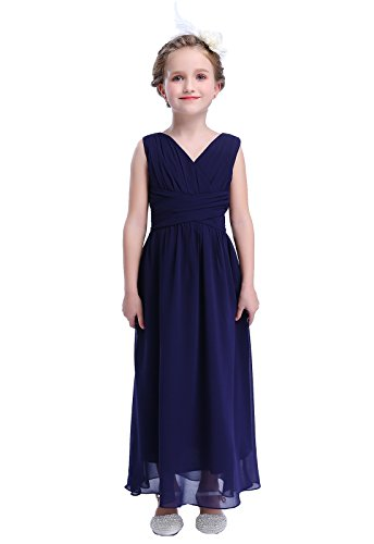 (Happy Rose Flower Girl's Dress Party Dresses Juniors Long Bridesmaid Dress Navy)