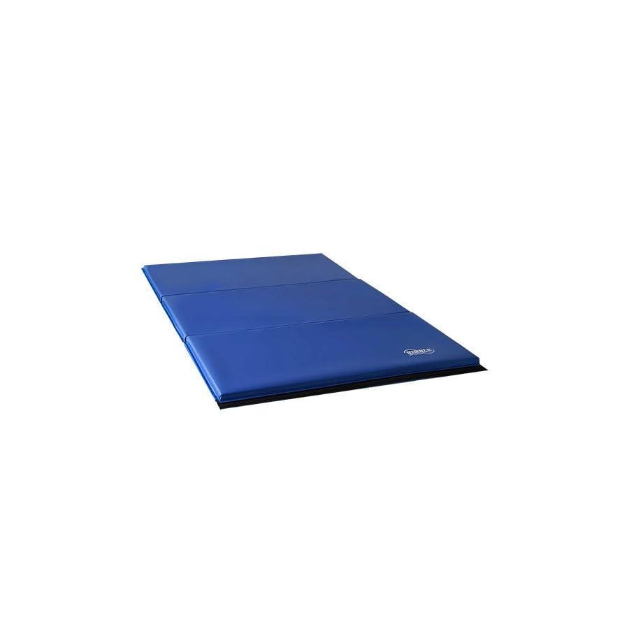 Nimble Sports Gymnastics Beam and Mat Combo Tan, 12 to 18 Inch High 8 Feet Long Balance Beam and Blue 4 Feet X 6 Feet Folding Mat