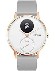 Withings Steel HR Hybrid Smartwatch – zegarek fitness z pomiarem tętna i aktywności, 36 mm – biały, szary silikonowy pasek