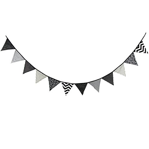 10.5 Feet Triangle Flag Banner Bunting Pennant for Kids Teepee Tent,Party and Room Decoration,12 Pcs Double Sided Cotton Fabric Flag by Steegic (Black and White) -