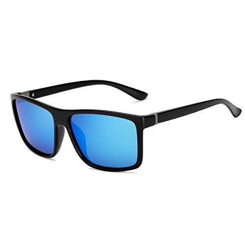 Noir miroir femmes carrée pour Bleu lentille de corne de réfléchissant Sable hommes grande vintage les lunettes bordé polarisée soleil couleur plat Tukistore zRIqwTI
