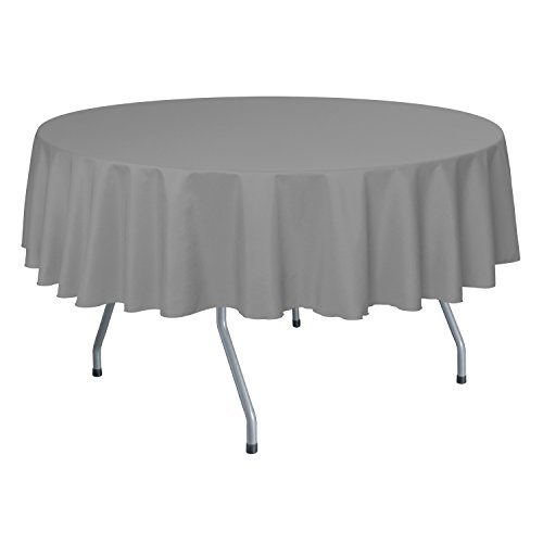 Ultimate Textile 84 Inch Round Polyester Linen Tablecloth Silver - Round Buffet Table Clothes