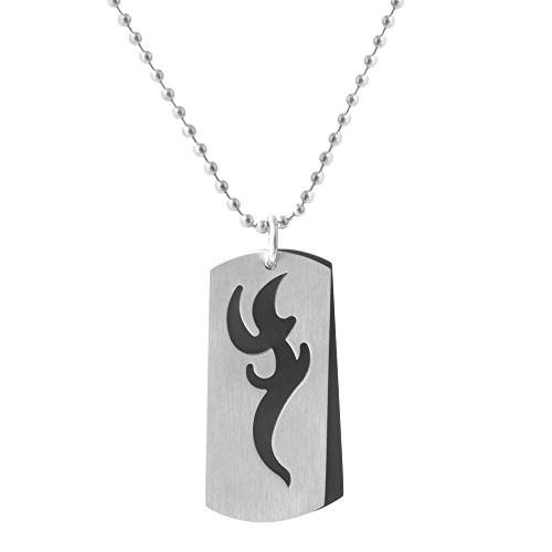 Urban Male Stainless Steel Two Colour Tribal Dog Tag - Fashion Guy Indie