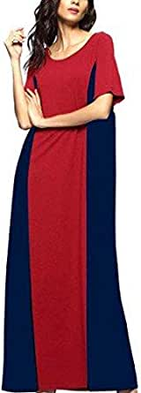 Women long Maxi Dress Red And Blue
