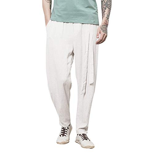 FONMA Men's Casual Linen Breathable Loose Long Pants Solid Color Straight Trousers White ()
