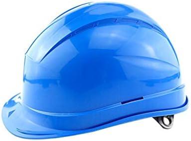 LCSHAN 反落下通気性ヘルメット工事現場日焼け止めヘルメット肥厚 (Color : Blue)