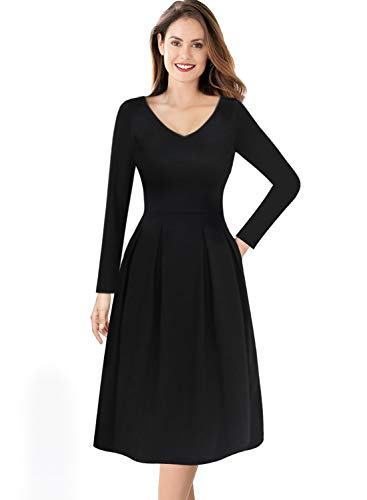 Line Tea (VFSHOW Womens V Neck Pleated Pockets Work Business Casual Skater A-Line Dress 1032 BLK M)