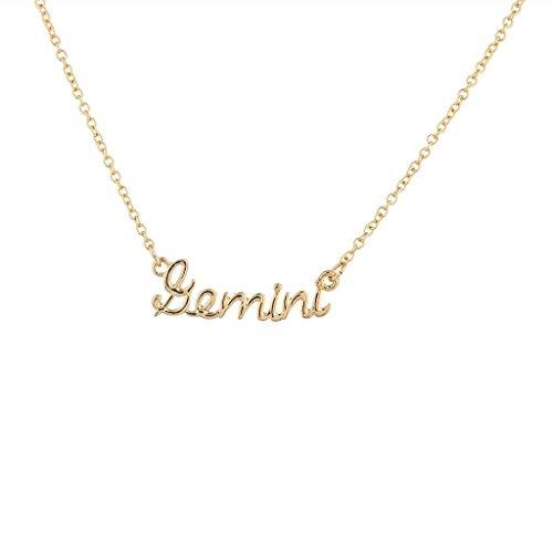 Lux Accessories Gold Tone Gemini Astrological Script Nameplate Necklace -