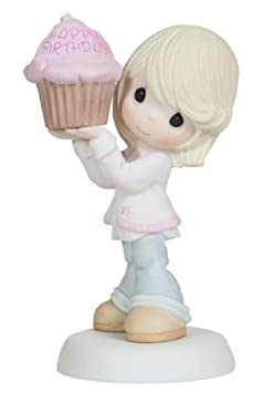 Precious Moments Woman with Large Cupcake Figurine