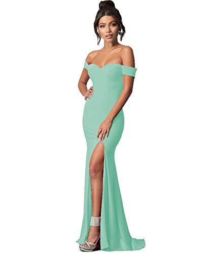 fcb60511730d Lily Wedding Womens Off Shoulder Prom Dresses 2018 Long Mermaid Formal  Evening Ball Gowns with Slit GD45 Size 2 Mint Green