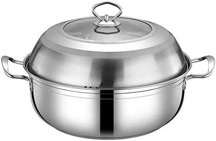 S-TING 鍋 Stockpots、ガラス蓋と鍋を調理ステンレス鋼スープ鍋、Stockpot耐熱ダブルハンドルと、簡単にクリーン(サイズ:28 * 10.5センチメートル)(サイズ:30 * 10.5センチメートル) 不沾鍋 鍋子 萬用鍋 炒め鍋 フライパン