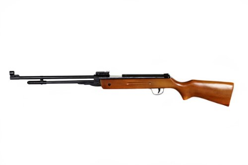 Tactical Crusader Break Barrel .177 Caliber Pellet Rifle with Fixed Barrel and Cocking Lever, Brown/Wood
