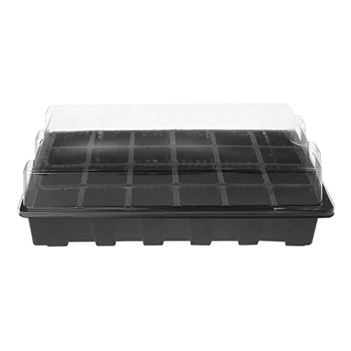 24 Holes Greenhouse Plant Seed Tray Lid Nursery Garden Flowerpot Plastic Box Kit