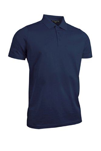 Glenmuir Mens MSL7284 Plain Mercerized Golf Polo Shirt Navy M