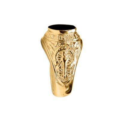 So Chic Bijoux © Chevalière Bague Anneau Université University USA Ovale Onyx Noir Vermeil (Or 750 sur Argent 925)
