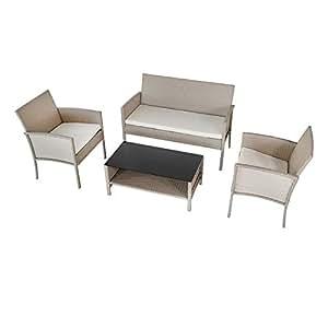 Aktive 61013 Conjunto Muebles de jardín en ratán: Amazon.es ...