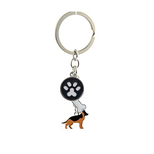 Key-ring Keychain,Cute Metal Small Dog Puppy Keychain Keyring Keyfob Car Bag Charm Dog Tag Chains Birthday Christmas Gift (German Shepherd ()