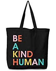 BE A KIND HUMAN Canvas Reusable Shopping Bag Tote