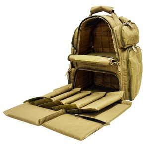 Explorer Tactical Heavy Duty Range Backpack with Adjustable Compartments R4 Coyote Tan
