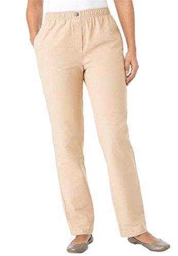 Women's Plus Size Jean, Pull On, Elastic Waist New Khaki,18