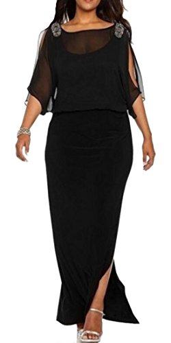 Color Long Women Prom Black Slit Sleeve Dresses Stylish Solid Cromoncent Mesh Long xZIqw7H7