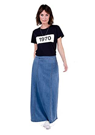 USKEES MATILDA Denim Maxi Skirt - Palewash Long Jean Skirt with Stretch UK 8-22