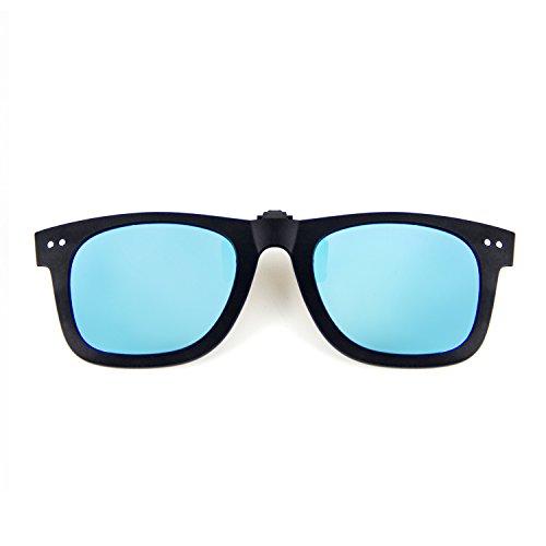 Cyxus Clip On Polarized Sunglasses [Blocking UV] Classic Sun Glasses for Men/Women (Blue)