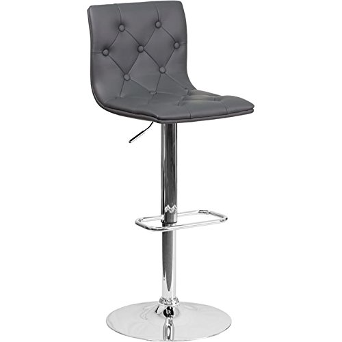 Luxury Home Contemporary Tufted Gray Vinyl Adjustable Height Barstool with Chrome Base by Luxury Home