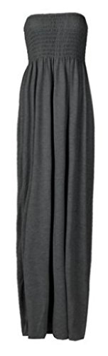 New Ladies Abito da donna lungo gonna a tubo con spalline elasticizzato in jersey per l'estate Maxi Dress Dark Grey