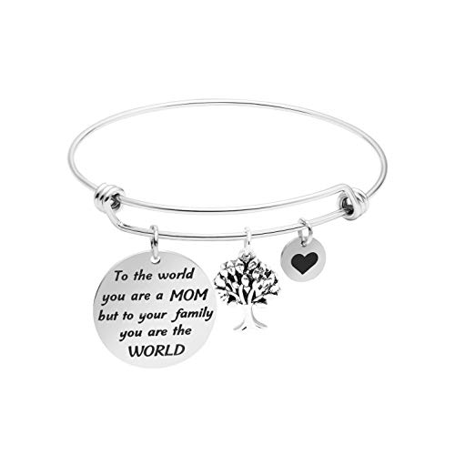 Charm Bangle Bracelet for Mother Day Jewelry Gift Inspirational Stainless Steel Jewellery -