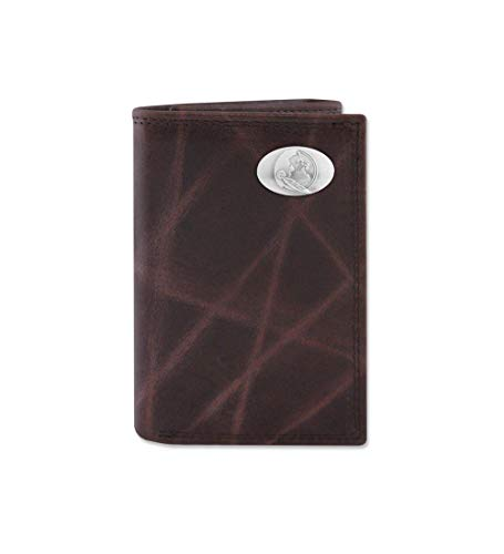 NCAA Florida State Seminoles Brown Wrinkle Leather Trifold Concho Wallet, One Size