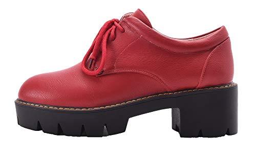Agoolar Rouge Chaussures Femme Rond Couleur Verni Lacet Gmbdb011651 Légeres Unie zzYxrWn