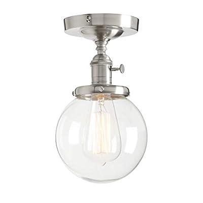 "Permo Vintage Industrial Mini 5.9"" Round Clear Glass Globe Semi Flush Mount Ceiling Light Fixture"