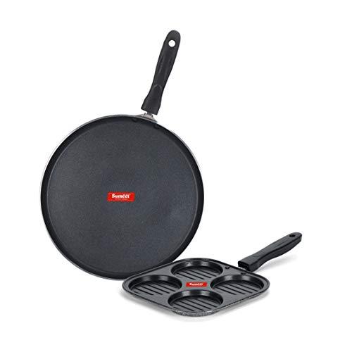 Sumeet NonStick Hopea Cookware Set  Dosa Tawa   26.5Cm Dia + Mini Multi Snack Maker   4 Cavity  19.5cm