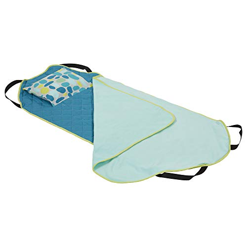 Care Day Rest Mats (ECR4Kids Toddler Nap Mat Companion - Portable All-in-One Preschool/Daycare Nap Bundle with Built-in Liner, Blanket and Removable Pillow, Teal Pebbles Design)