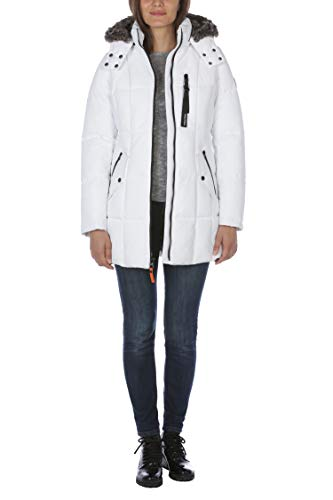 Nautica womens Heavy Weight Quilted Jacket With Faux Fur Trim