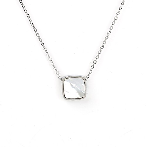 Mother Of Pearl White Gold Necklace - United Elegance Trendy Silver Tone Designer Necklace with Arctic White Faux Mother-of-Pearl Square Geometric Pendant