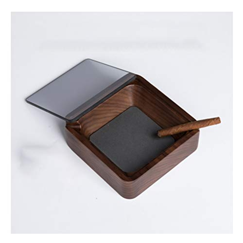YANGRUOTONG Wood Square Ashtray American Black Walnut Windproof with Lid Double Trough Modern Minimalist Ashtray, Astralys for Cigarettes Outdoors, Home Office Decoration