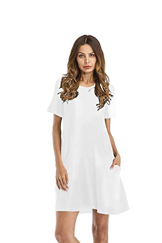 Women's Casual Plain Simple Tunic Loose Pockets Dress