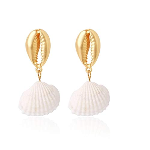 Fashion Design Shell Metal Gold Geometric Earrings Irregular Circle Square Freshwater Pearl Natural Drop Earrings for Women ()