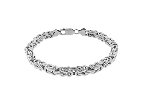- 925 Sterling Silver with rhodium plating 6mm Hollow Byzantine Box Link Chain Necklace or bracelet- Available in 7.5