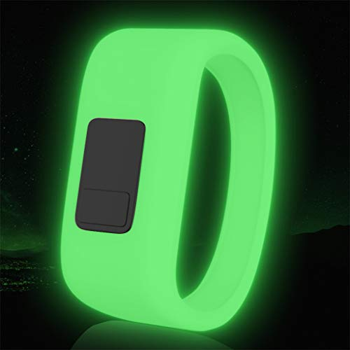 CapsA Luminous Silicon Replacement Watch Strap for Kids Wristband Watch Band Strap Pull Buckle Compatible for Garmin Vivofit 3 Vivofit JR Vivofit JR2 Large (Green)