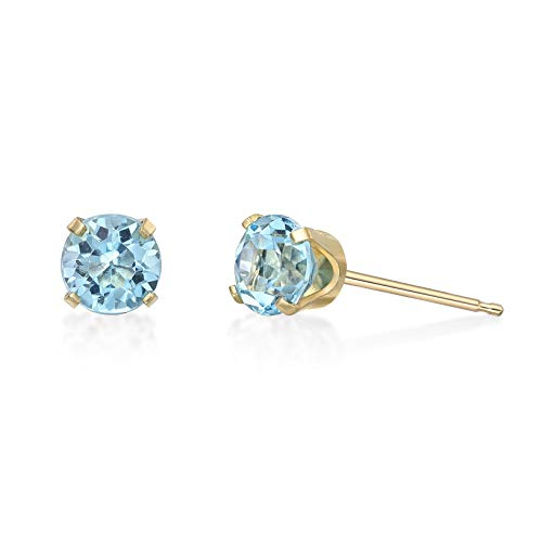 1.12 CT Round 5MM Blue Topaz 14K Yellow Gold Stud Birthstone Earrings