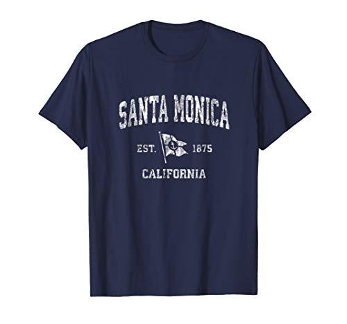 Santa Monica California CA Vintage Boat Anchor Flag Tee