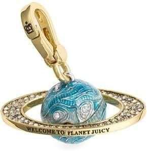 Juicy Couture Blue Globe Planet Ring Gold Plated Bracelet Charm New in - Juicy Pave