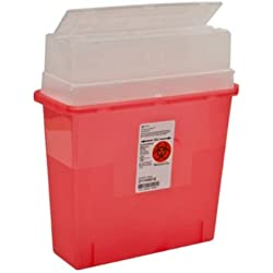 Covidien 31144010 Sharps-A-Gator Sharps Container, Tortuous Path, Polypropylene, 5 quart, Transparent Red (Pack of 30)